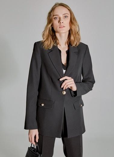 People By Fabrika Düğmeli Ceket Siyah